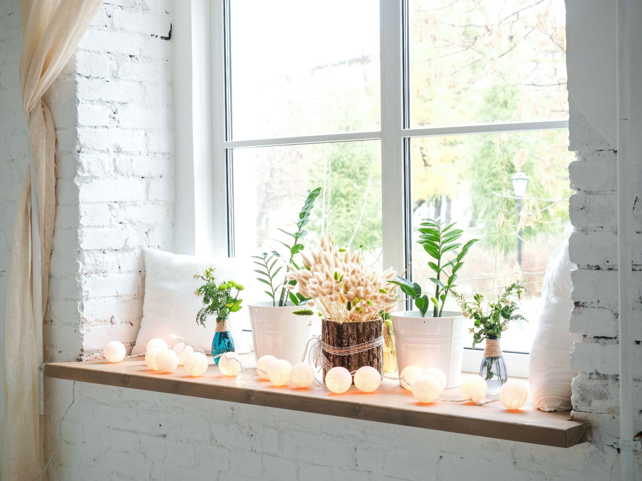 make your student accommodation feel like home - window sill decorated with plants and fairy lights