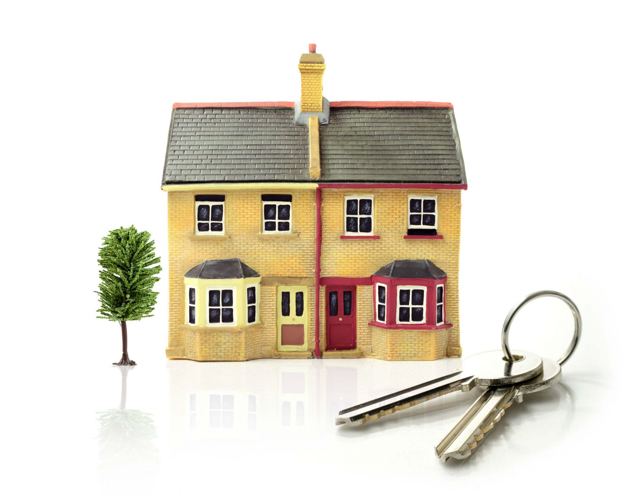 help to buy - toy house with mini tree and house keys