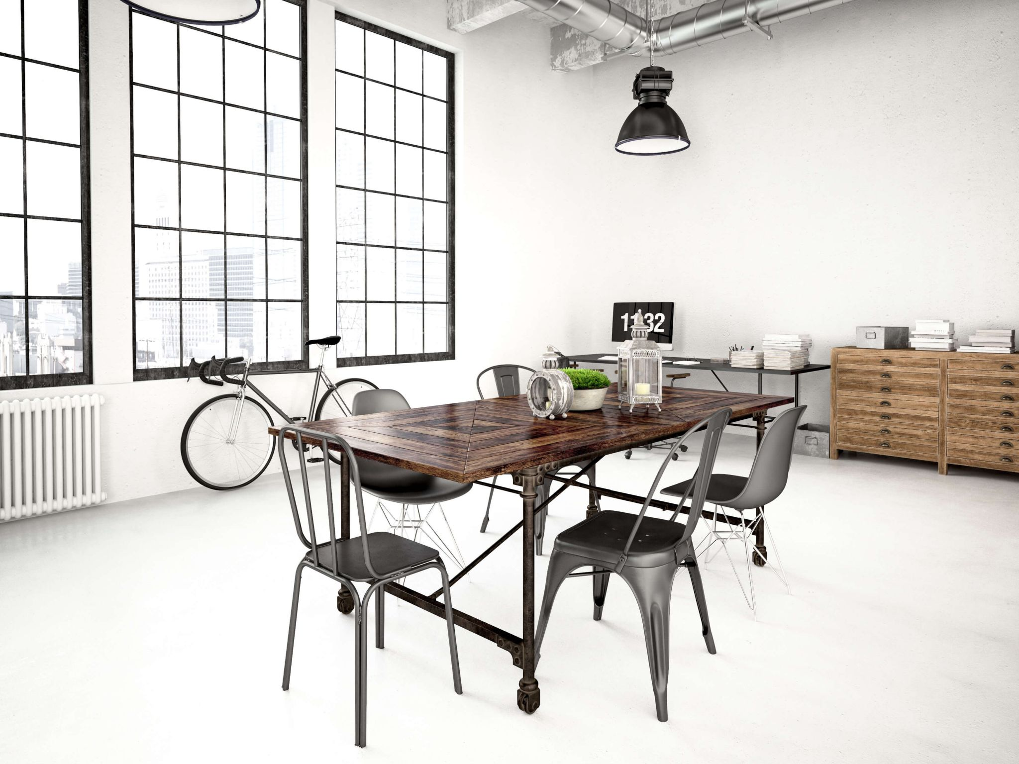 metal decor - industrial style living space