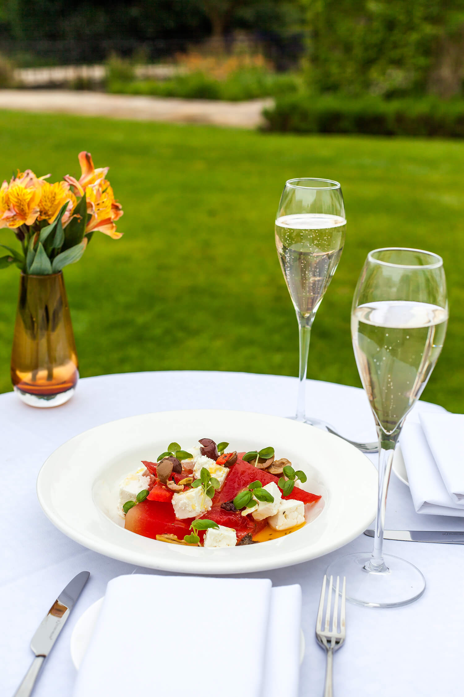 watermelon and feta salad - served in the gardens at Sopwell House