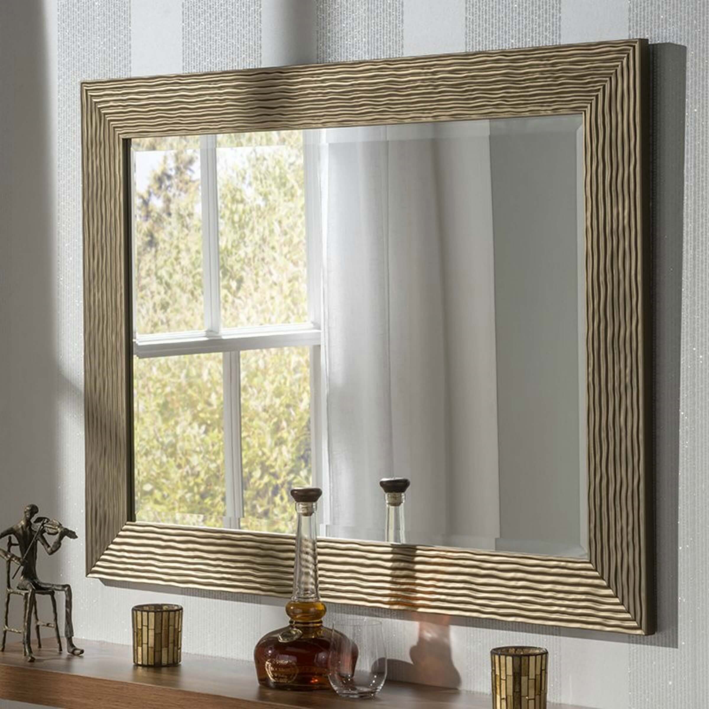 how to present your house for sale - large wicker framed mirror
