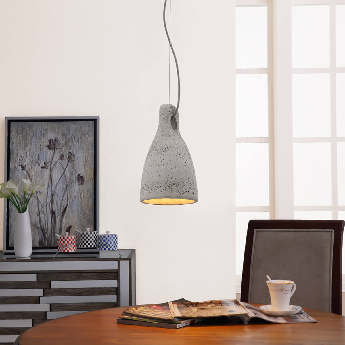 make your student accommodation feel like home - grey pendant lamp over white table