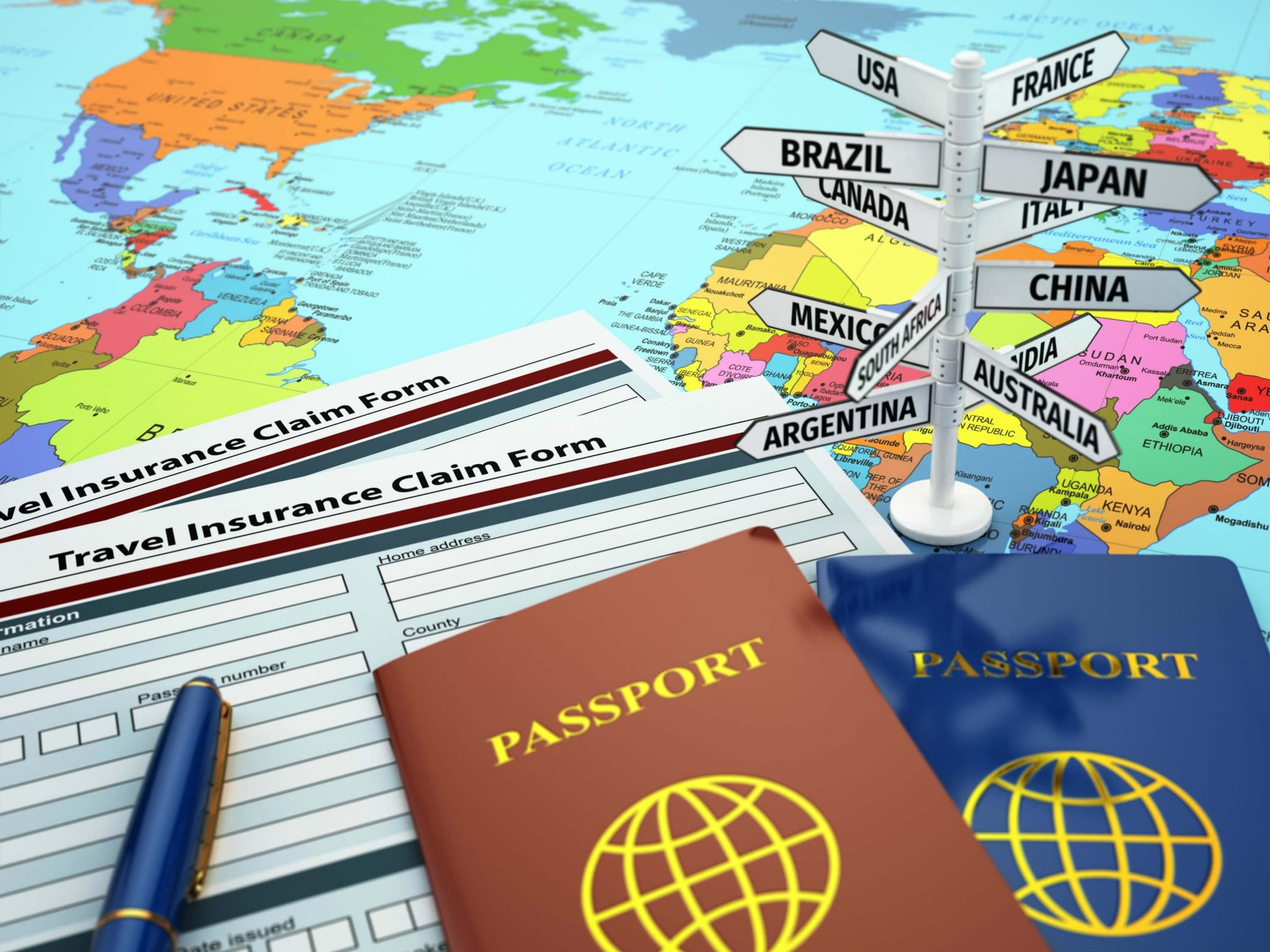 travel insurance with pre existing medical conditions - map of the world with claim forms and passports