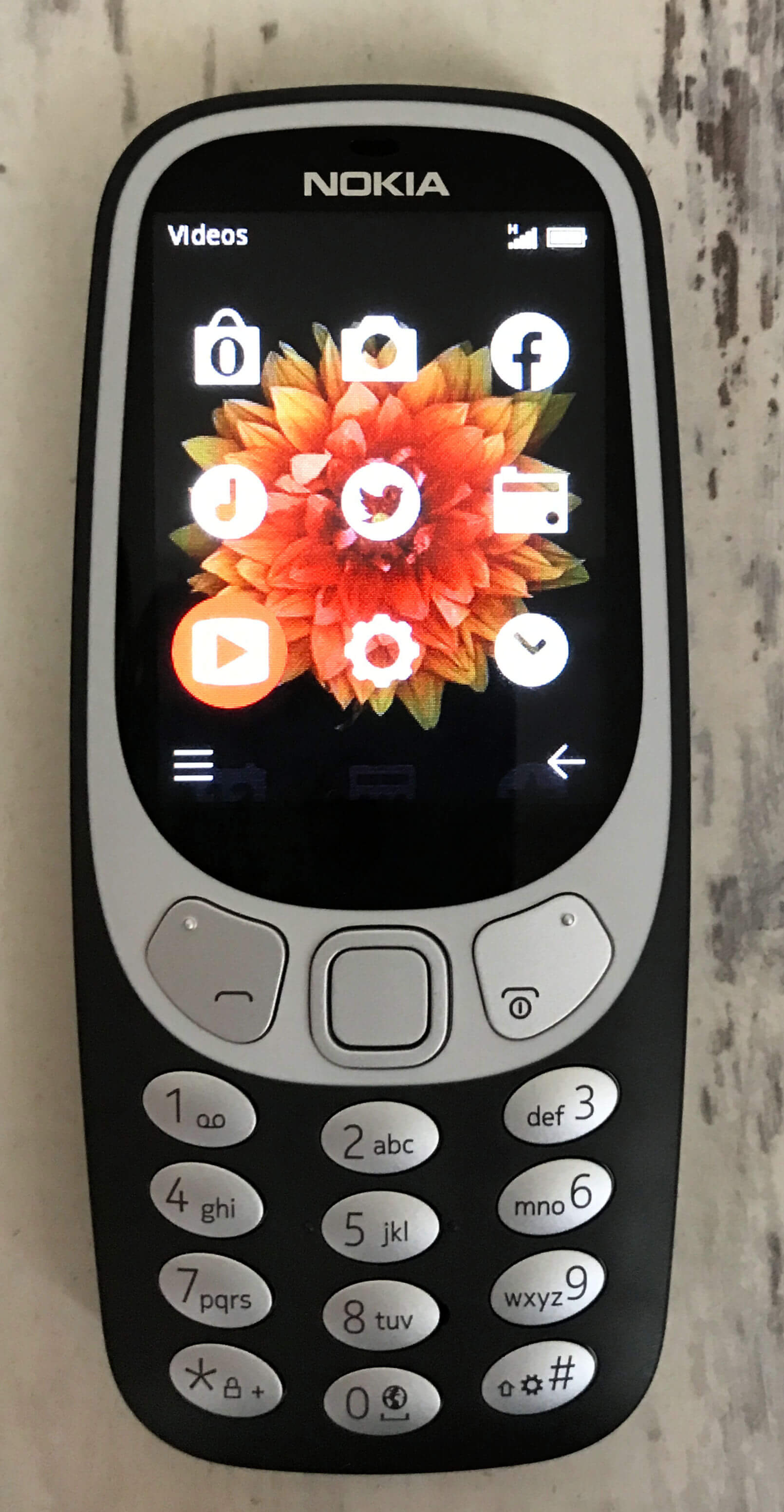 family mobile - Nokia 3310 3G screen showing icons