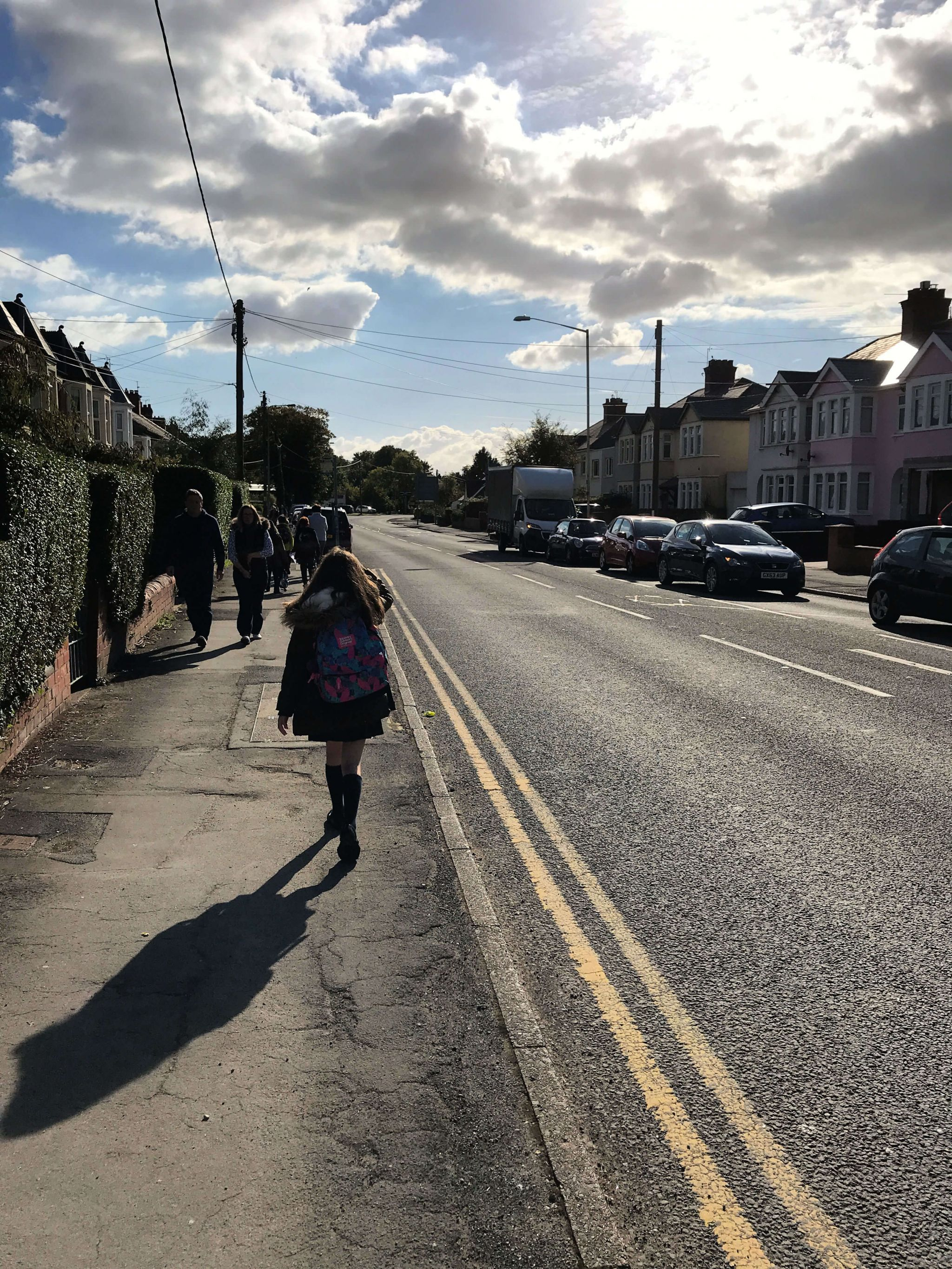 Aviva Drive app - Caitlin walking down Cardiff Road in Dinas Powys