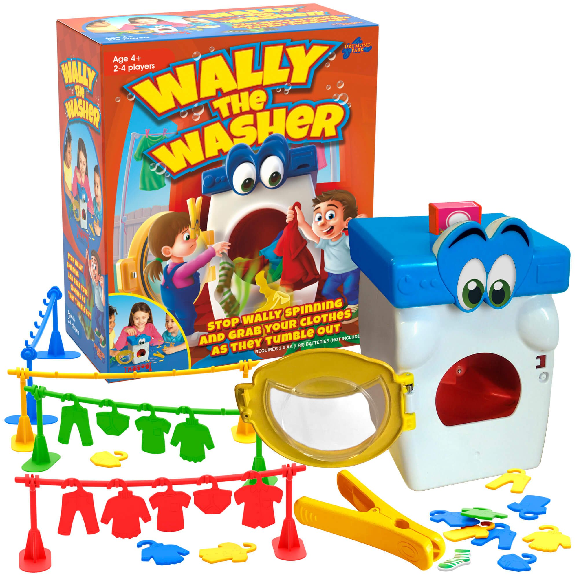 Wally The Washer Tabletop game with a toy washing machine