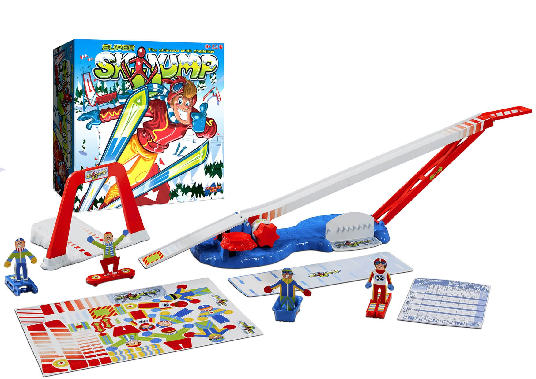 super ski jump tabletop game from Drumond Park box contents