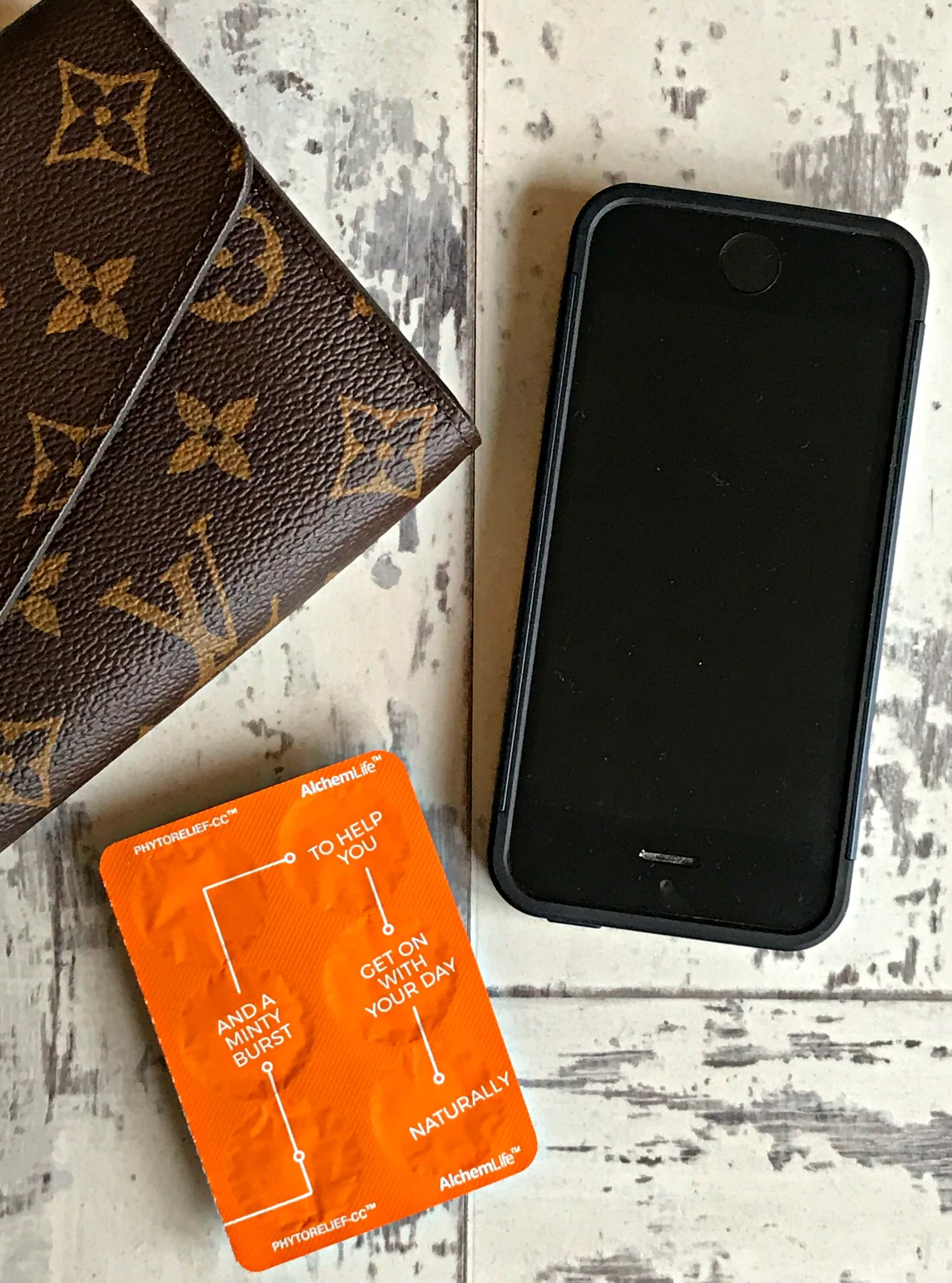 Phone, purse and Phytorelief pack