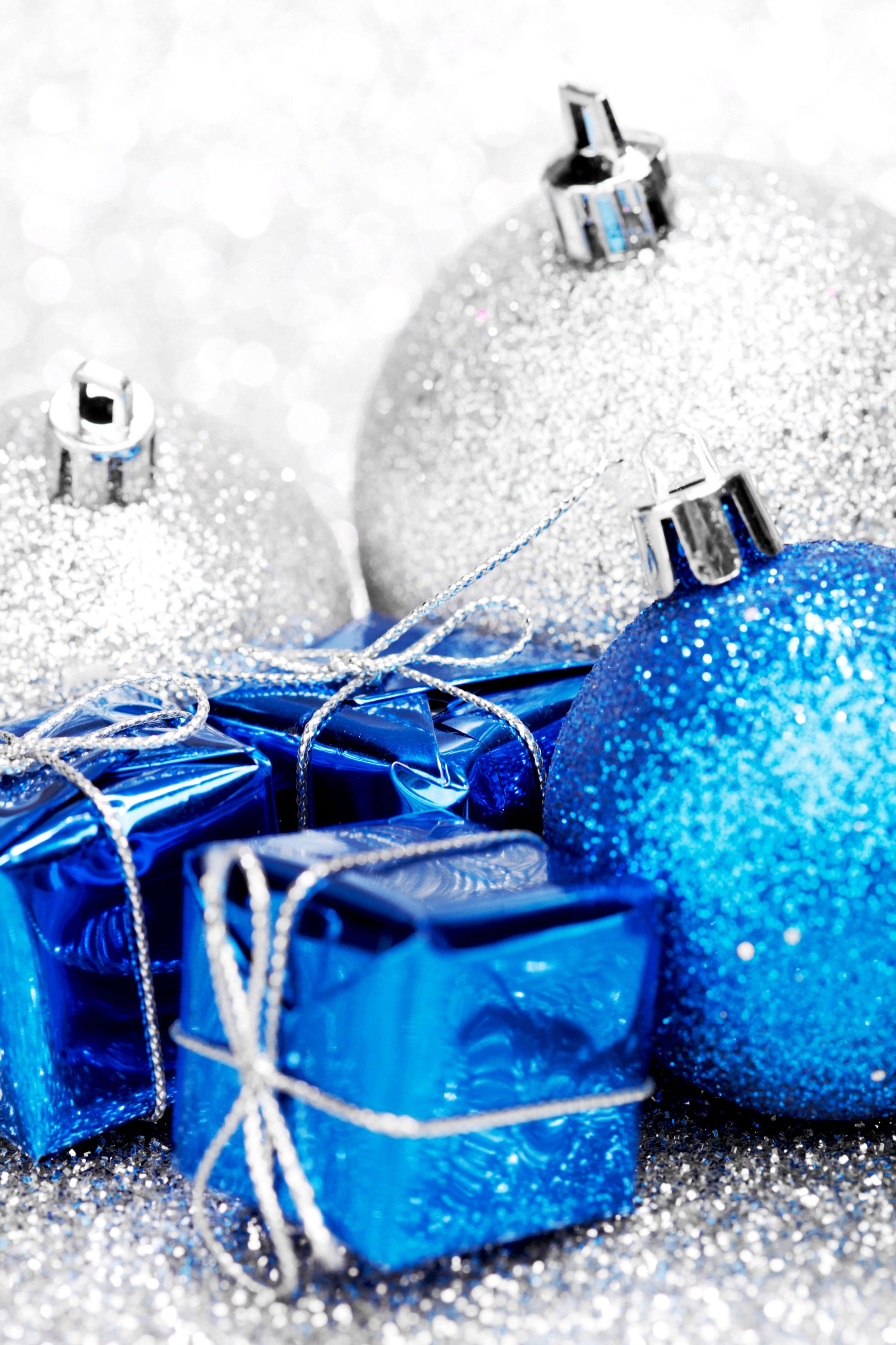 a little alone time - blue and silver Christmas baubles