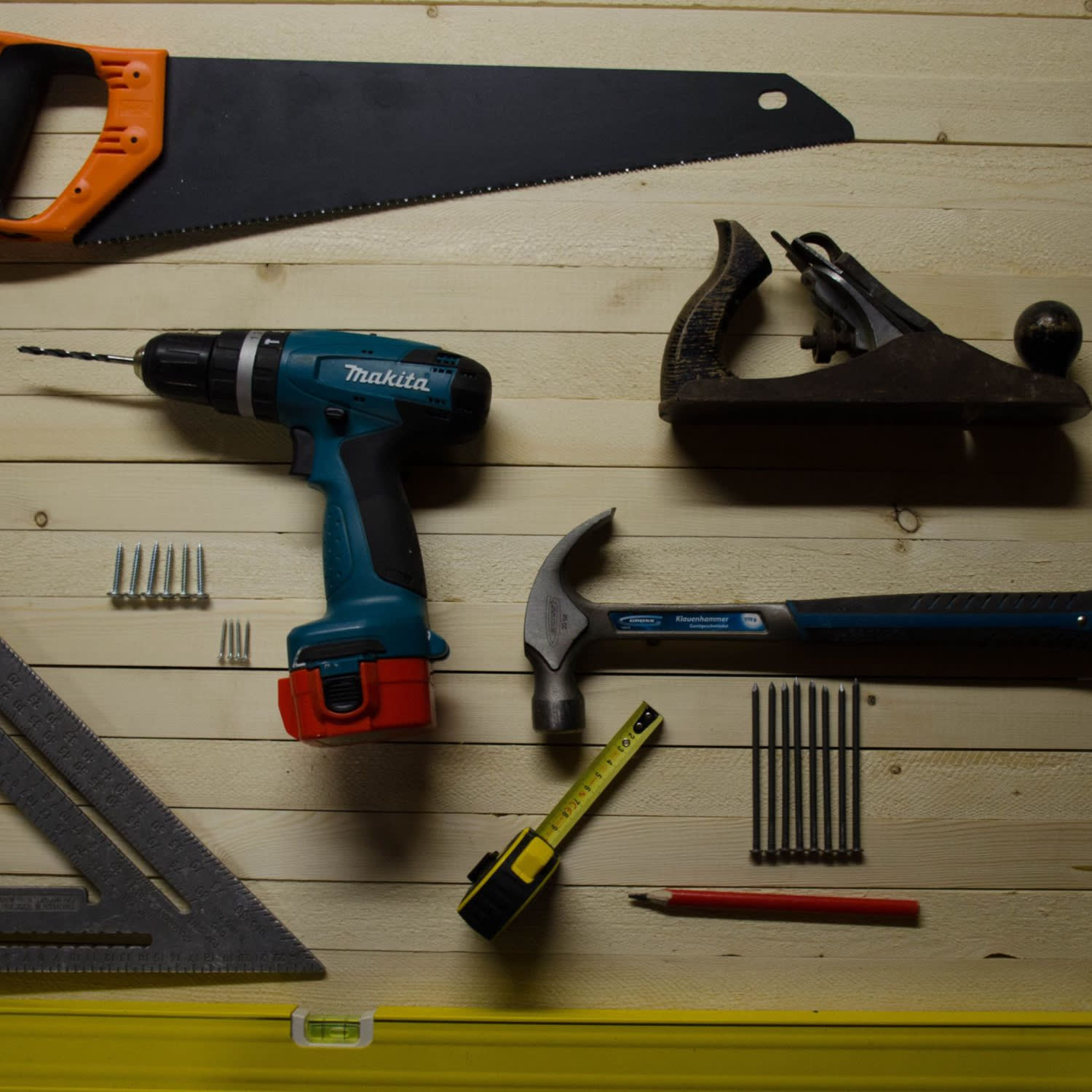 DIY Tools laid out on floorboards